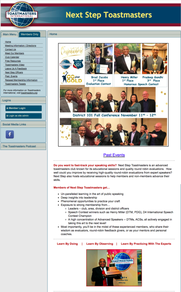 Next Step Toastmasters Newsletter front page