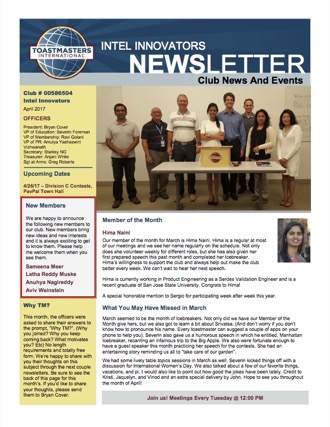 Intel Innovators Newsletter front page