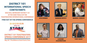 International Speech Contestants: Rita Barber, Barbara Busch, Manuel Church, Brad Jacobs, Lakshmi Jagannathan, Tony Ndah