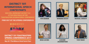 International Speech Contestants: Rita Barber, Barbara Busch, Manuel Cherchi, Brad Jacobs, Lakshmi Jagannathan, Tony Ndah