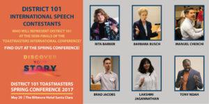 International Speech Contestants: Rita Barber, Barbara Busch, Manuel Cherchi, Brad Jacobs, Lakshmi Jagannathan, Tony Ndah