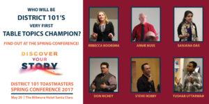 Table Topics Contestants: Rebecca Boorsma, Arnie Buss, Sanjana Das, Don Richey, Steve Robby, Tushar Uttarwar