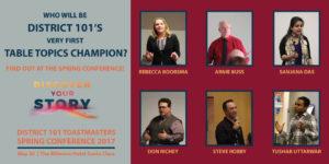 Table Topics Contestants: Rebecca Boorsma, Arnie Buss, Santana Das, Don Richey, Steve Robby, Tushar Uttarwar