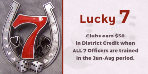 Clubs earn $50 in District Credit when all 7 officers are trained in the June-August period