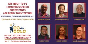Fall 2017 Humorous Speaking Contestants