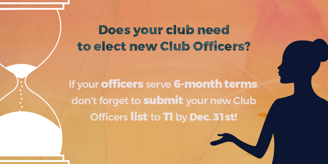 Submit Club Officers by December 31