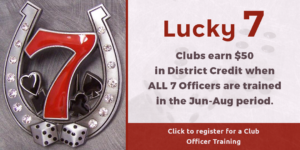 Lucky 7 - Register for Club Officer Training